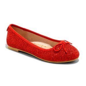 NWT Cat & Jack Girls Glitter Ballet Flats Red